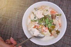 Tajlandzki jedzenie: Kurczak polewka w Kokosowym mleku Fotografia Stock