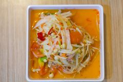 Tajlandzki jedzenie, melonowiec sałatka lub co dzwoniliśmy ` Somtum ` w Tajlandzkim Fotografia Royalty Free
