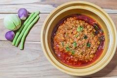 Tajlandzki jedzenie styl: Nam chuja ongchili pasta (mięso i pomidor spic Zdjęcia Stock
