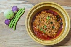 Tajlandzki jedzenie styl: Nam chuja ongchili pasta (mięso i pomidor spic Zdjęcia Royalty Free