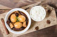 Tajlandzki jedzenie, twardy jajko w brown kumberlandzie obraz royalty free