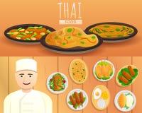 Tajlandzki karmowy sztandaru set, kreskówka styl royalty ilustracja