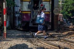 Tajlandzki kolej pociągu linii kolejowej skrzyżowanie Zdjęcie Royalty Free