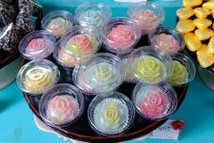 Tajlandzki kolor folujący deser w róża wzorze fotografia stock
