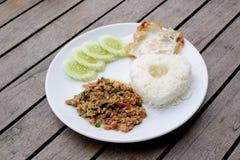 Tajlandzki korzenny jedzenie, basil wieprzowina Smażył Rice Fotografia Royalty Free