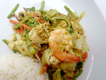 Tajlandzki kraba curry'ego przepis - podpalająca kałamarnica i, mieszanka owoce morza z mieszanki warzywem Phat phong Kari w Tajl Obrazy Stock