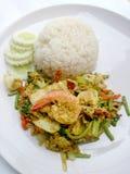 Tajlandzki kraba curry'ego przepis - podpalająca kałamarnica i, mieszanka owoce morza z mieszanki warzywem Phat phong Kari w Tajl Obrazy Royalty Free