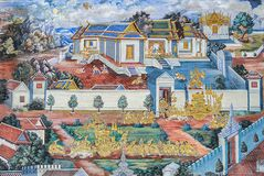 Tajlandzki malowidło ścienne fresk Ramakien epopeja przy Uroczystym pałac w Bangko obrazy royalty free