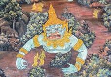 Tajlandzki malowidło ścienne fresk Ramakien epopeja przy Uroczystym pałac w Bangko fotografia stock