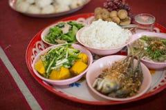 Tajlandzki naczynie kurs jedzący z ryż obraz stock