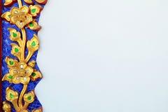 Tajlandzki ornamentu wzór na betonowej ścianie Fotografia Stock