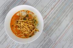 Tajlandzki północny stylowy kurczaka curry'ego noddle Obrazy Royalty Free