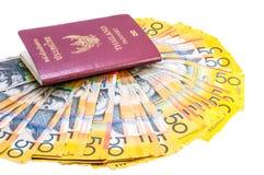 Tajlandzki paszport i australijczyk notatki Fotografia Stock