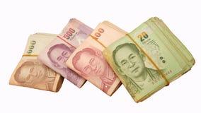 Tajlandzki pieniądze 20,100,500,1000 baht Zdjęcie Stock