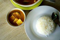 Tajlandzki posiłek z ryż i podśmietanie polewką Obrazy Royalty Free