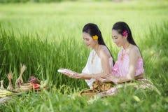 Tajlandzki rolnik w Tajlandzkiej sukni zdjęcia royalty free