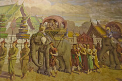 Tajlandzki (Siam) stary styl życia 300 rok temu. Królewska podróż. Zdjęcie Royalty Free