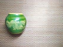 Tajlandzki smoka słój na Tajlandzkim matowym tekstury tle Zdjęcie Royalty Free