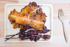 Tajlandzki stylowy grilla kurczaka mięso i flaki Fotografia Royalty Free