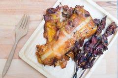 Tajlandzki stylowy grilla kurczaka mięso i flaki po grilla Zdjęcia Stock