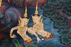 Tajlandzki stylowy malowidło ścienne obrazy royalty free