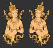 Tajlandzki stylu dwa aniołów sztuki wzór Obraz Stock