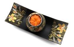 Tajlandzki sztuki świeczki właściciela statku kształt z Candlestick Dla zdroju lub przedstawienia Zdjęcia Stock