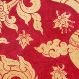 Tajlandzki sztuki farby czerwieni złoto Zdjęcie Royalty Free