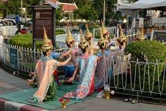 Tajlandzki taniec dla Phamaetrorani wokoło Królewskiego placu Obrazy Royalty Free