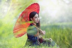 Tajlandzki tradycyjny jedyność suknia Phutai styl zdjęcia royalty free