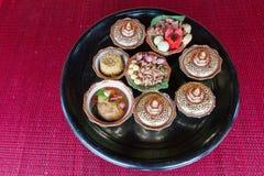 Tajlandzki tradycyjny jedzenie: sztuczny karmowy puchar tło, tekstura,/ Obrazy Stock