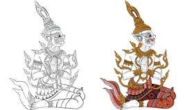 Tajlandzki tradycyjny obraz, tatuaż, krakingowy colour obraz ilustracja wektor