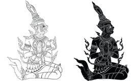 Tajlandzki tradycyjny obraz, tatuaż, krakingowy colour obraz ilustracji
