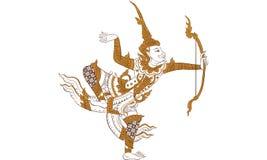 Tajlandzki tradycyjny tatuaż, Tajlandzki tradycyjny obrazu wektor royalty ilustracja