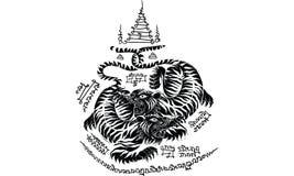 Tajlandzki tradycyjny tatua?, Tajlandzki tradycyjny obraz w ?wi?tyni, wektor ilustracji