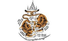 Tajlandzki tradycyjny tatua?, Tajlandzki tradycyjny obraz w ?wi?tyni, wektor ilustracja wektor
