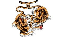 Tajlandzki tradycyjny tatua?, Tajlandzki tradycyjny obraz w ?wi?tyni, wektor royalty ilustracja