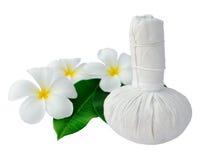Tajlandzki ziołowy kompres dla zdroju i frangipani obraz stock