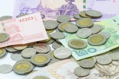 Tajlandzkiego bahta banknot i moneta Obraz Stock