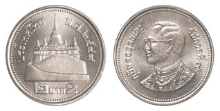 2 tajlandzkiego bahta moneta Fotografia Stock