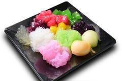 Tajlandzkiego deserowego rubinowego salim truflowy kolorowy mieszany z kokosowym mlekiem Obrazy Stock