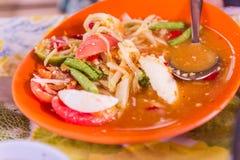 Tajlandzkiego północnego wschodu jedzenia ` nazwanego melonowa sałatkowy ` Zdjęcie Stock