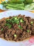 Tajlandzkiej kuchni wołowiny korzenna sałatka, Larb tradycyjne tajskie jedzenie Zdjęcie Stock
