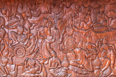 Tajlandzkiej kultury Buddha świątyni drewniana rzeźbi ściana Zdjęcia Stock