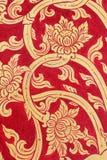 Tajlandzkiej sztuki złota ściany czerwona farba Zdjęcie Royalty Free