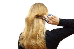 Tajma för att ändra frisyrbegrepp med hårklipp arkivbilder