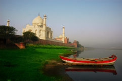 The Tajmahal & the boat. Royalty Free Stock Photography