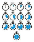 Tajmar symbolsuppsättningar - stoppuren, blått färgar Arkivbild
