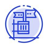 Tajne głosowanie, bojkot, wybory, śmieci, dżonki linii linii błękit Kropkująca ikona ilustracja wektor