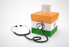 Tajne głosowanie stetoskop dla India i pudełko Obrazy Royalty Free